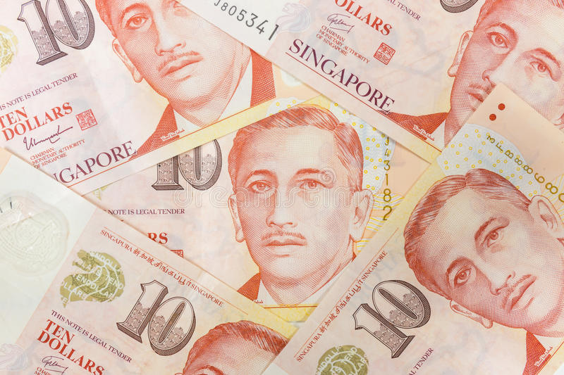 Close up of a heap of Singapore money and background stock photography
