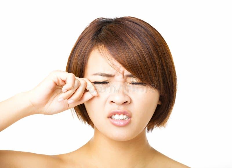 Close-up het jonge vrouw schreeuwen stock foto
