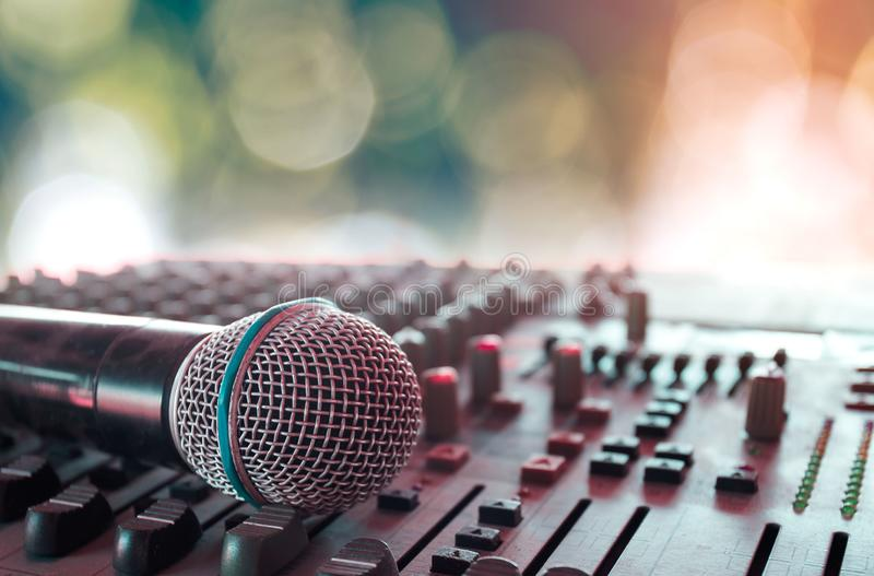 Close up of high quality dynamic microphone connect with male xlr connectort royalty free stock photography