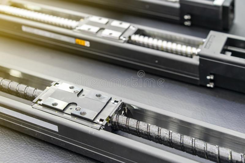 Close up high quality and precision linear bushing drive or lead ball bearing of machine on table for industrial work.  stock image