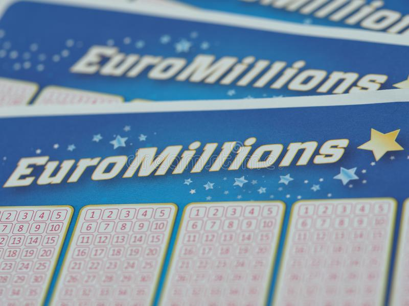 A close up high resolution image of a Euro Millions lottery ticket royalty free stock image
