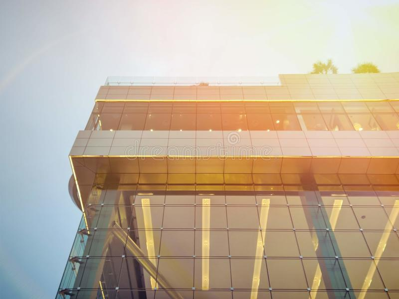 Close-up high rise building. In a golden light royalty free stock photos
