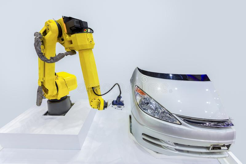 Close up high technology and accuracy equipment robot arm with l royalty free stock image