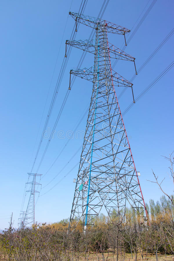 Download High voltage tower stock photo. Image of blue, iron, overhead - 30255760