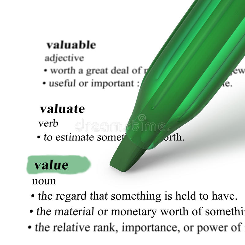 Download Close Up Of Highlighter Pen And Word Value Stock Illustration - Image: 19394629