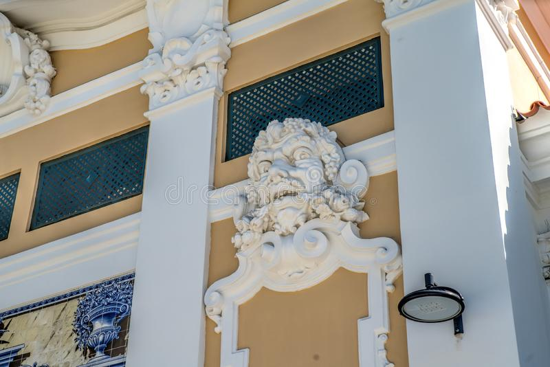 Close up historical building facade with architectural decorations in Lisbon.  royalty free stock photo