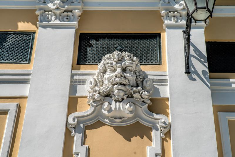 Close up historical building facade with architectural decorations in Lisbon.  royalty free stock photos