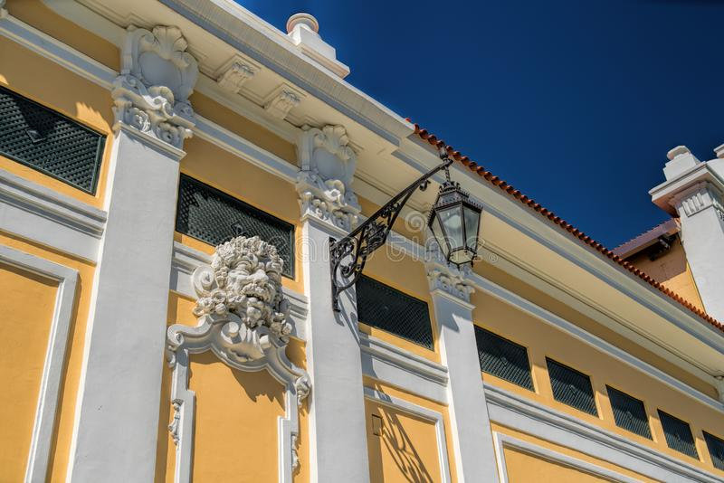 Close up historical building facade with architectural decorations in Lisbon.  stock photo