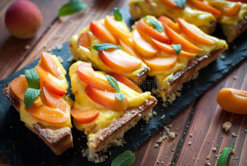 Close-up of homemade apricot tart royalty free stock photos