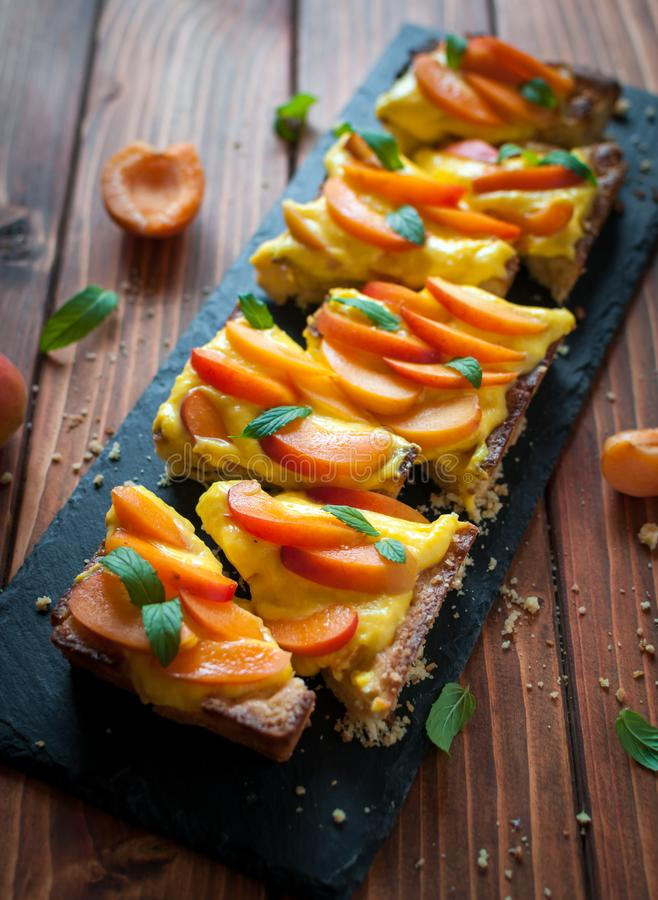 Close-up of homemade apricot tart royalty free stock images