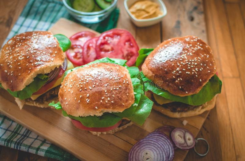 Close-up of homemade burgers stock image