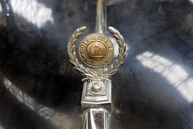 Close up of the hood ornament of BMW 340 vintage car - Stock image. Kharkiv, Ukraine - May 19, 2018: Close up of the hood ornament of car black BMW 340 stock photos