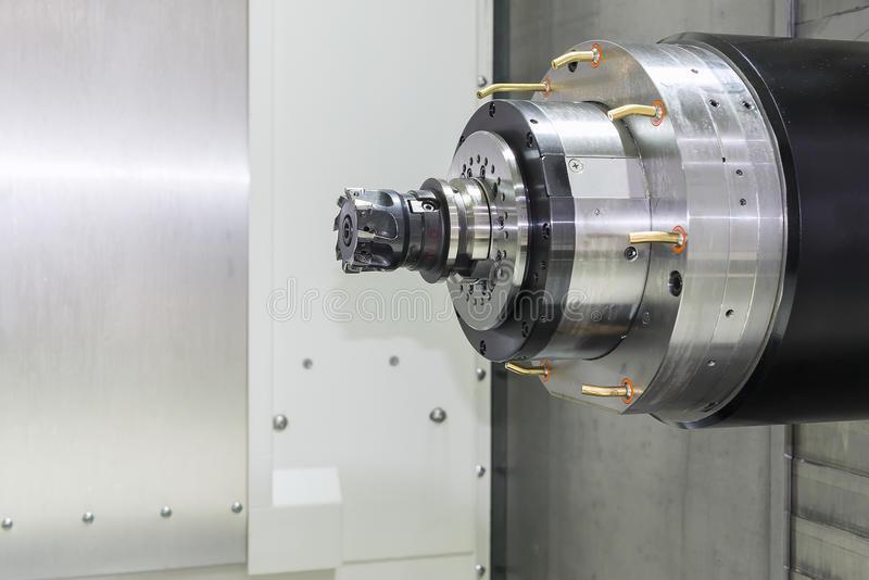Close up of the horizontal spindle of CNC Machine. With the cutting tool royalty free stock photos