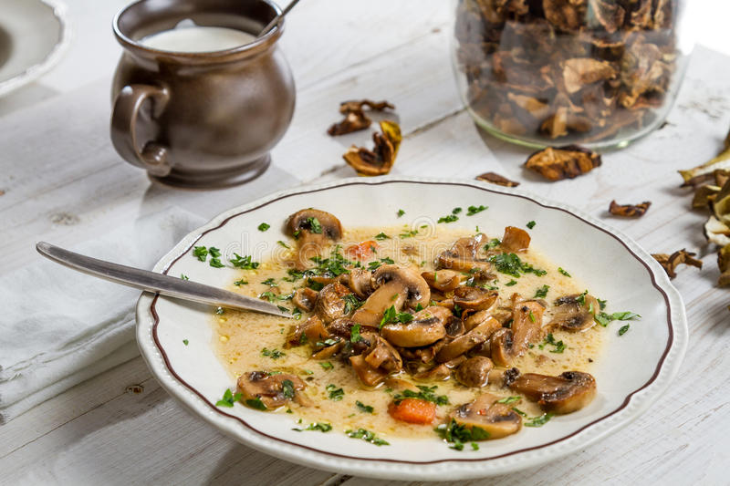 Close-up of hot mushroom soup royalty free stock photo