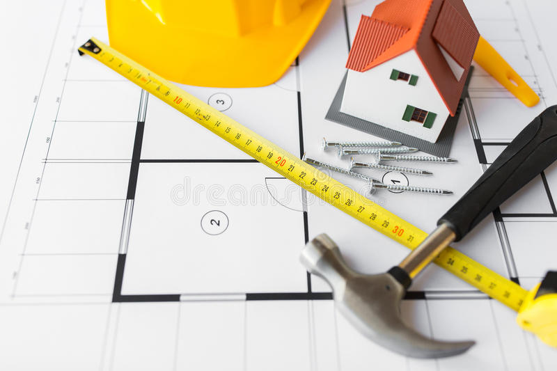 download close up of house blueprint with building tools stock photo image of architectural - Home Building Tools