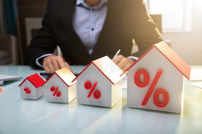 Close-up Of A House Models With Percentage Symbol stock image