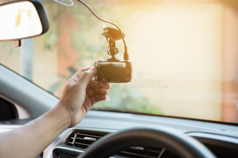 Human hand push button for record video in car stock photography