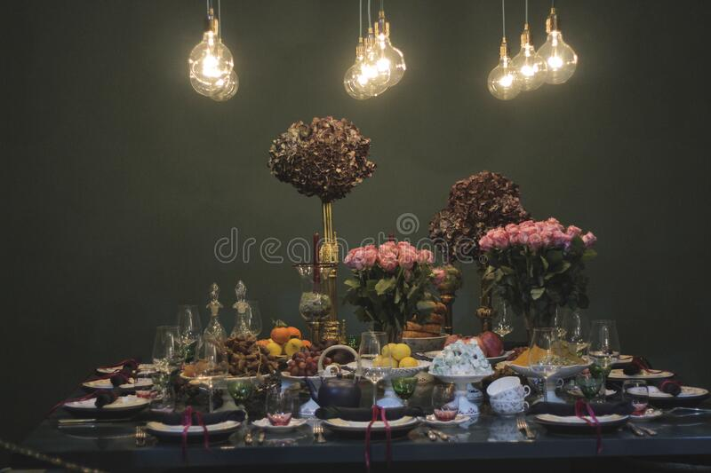Close-up of Illuminated Fruits on Table royalty free stock photography