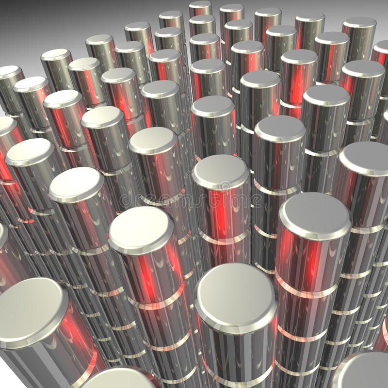 Close-up illustration of forested metal pellets. stock images