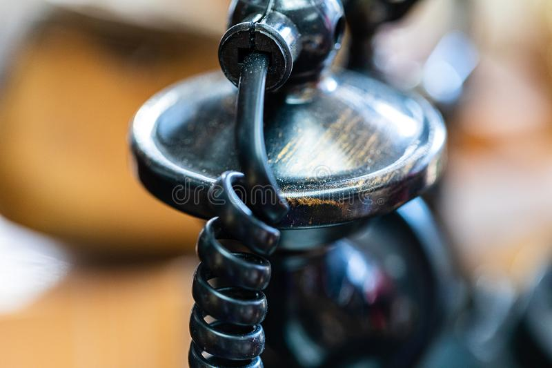 A close up image of an antique telephone stock photo