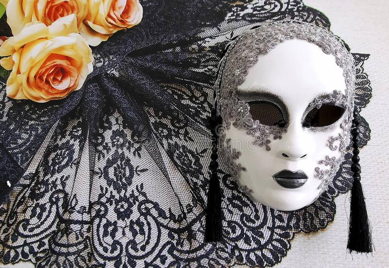 Close-up image of beautiful Venetian mask. Venice carnival background. Museum of Arts, Saratov, Russian Federation, 2019 royalty free stock photo