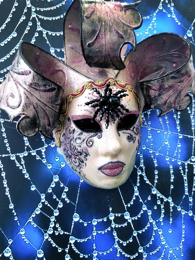 Close-up image of beautiful Venetian mask. Venice carnival or Halloween holiday background stock images