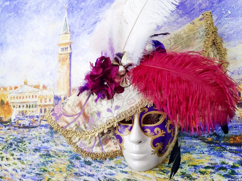 Close-up image of beautiful Venetian mask with plumage. Venice carnival background royalty free stock photo