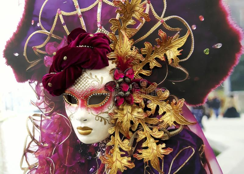 Close-up image of beautiful Venetian mask. Venice carnival background. Museum of  Arts, Saratov, Russian Federation, 2019 stock images