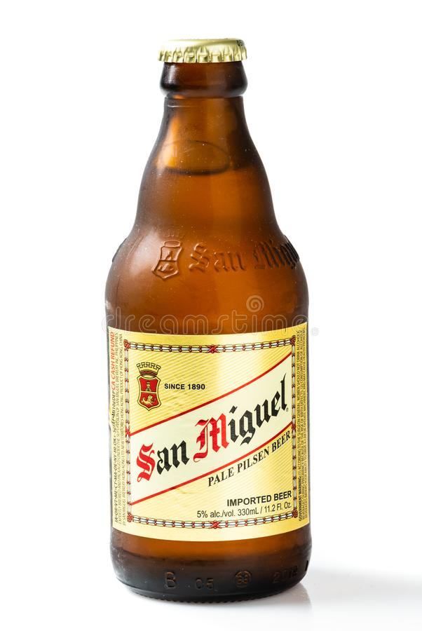 Bottle of philipino San Miguel brand beer on white background royalty free stock image