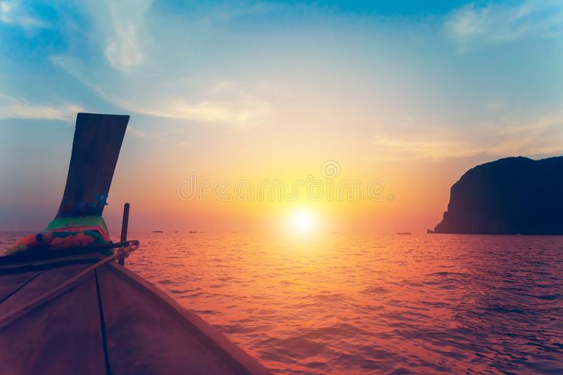 Close up image of the bow of the boat. Sunset. royalty free stock photography