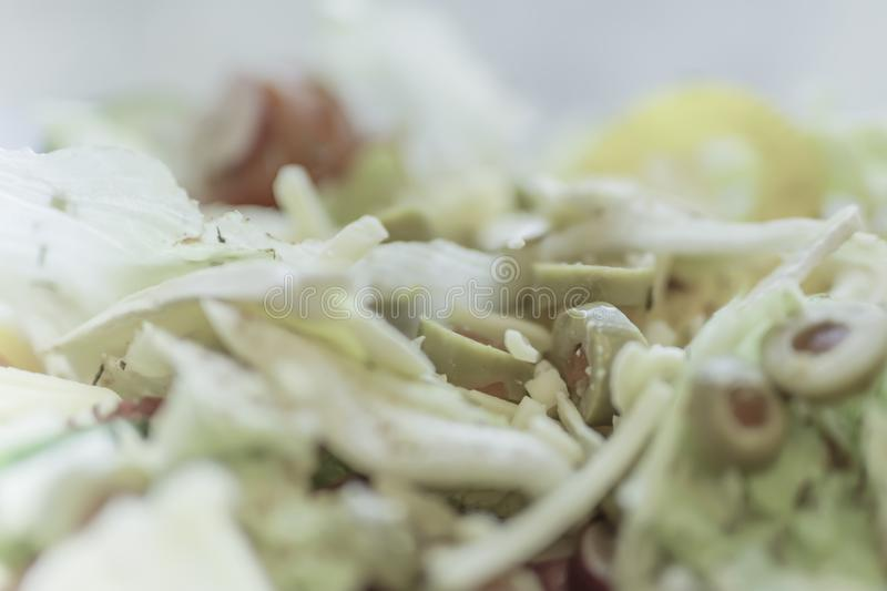 Close up image of cheese and vegetable salad. Fresh cheese and mixed vegetable salad close up.Bright and blurred soft image of healthy and nutritious food royalty free stock images