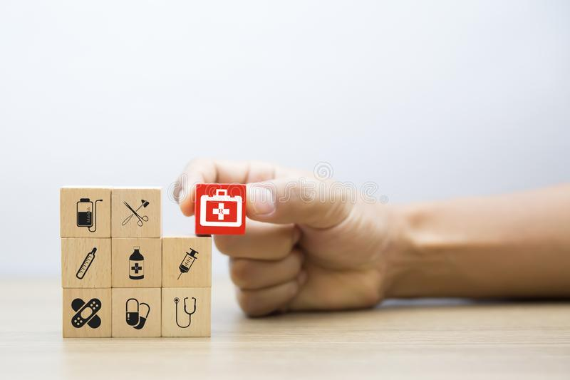 Medical and Health Wood Block Concept stock images