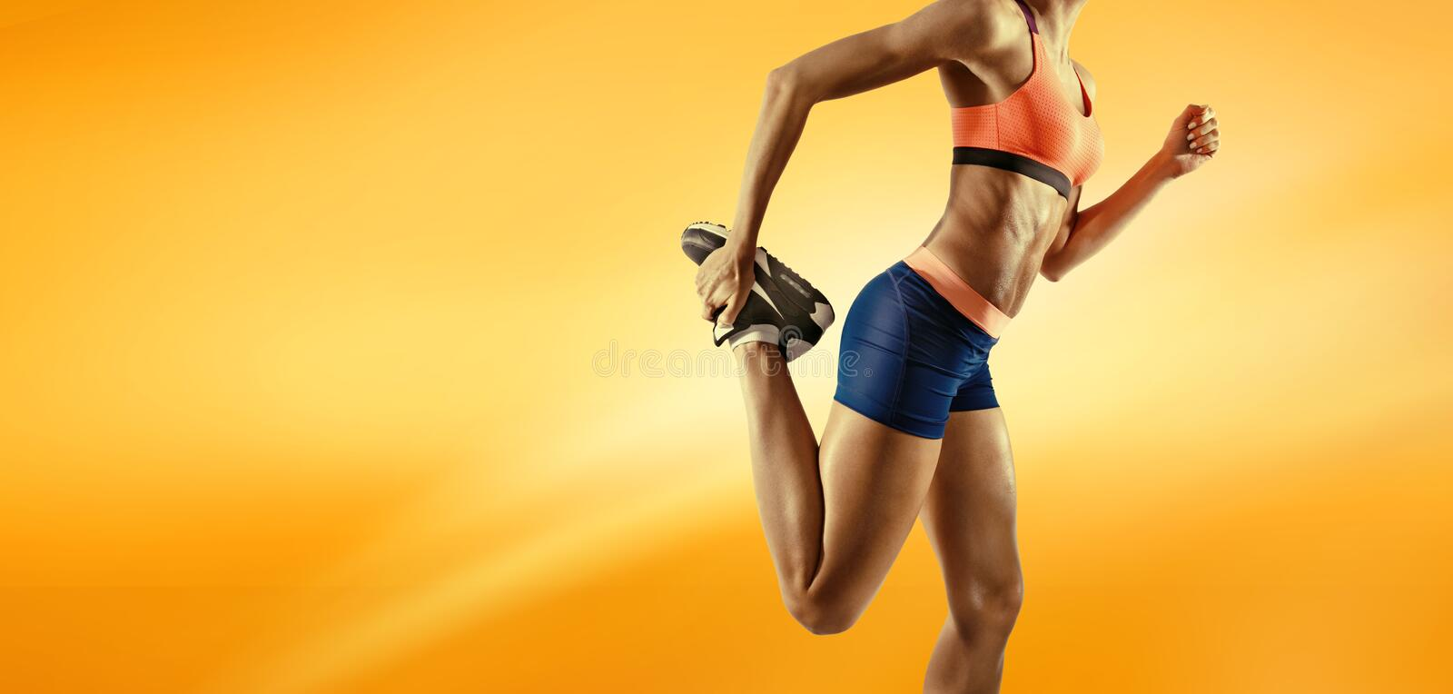 Close up image of fitness female stock images