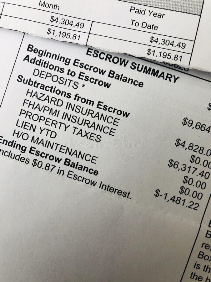 Escrow summary. Close up image of a mortgage escrow summary stock images