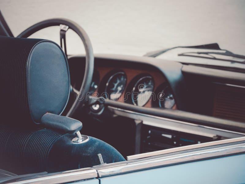 Close up image of an oldtimer car cockpit. Close up image of an classic oldtimer car cockpit royalty free stock photos