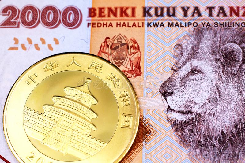 A colorful 2000 Tanzanian shilling bank note wih a gold Chinese panda coin in macro. A close up image of an orange, Tanzanian two thousand shilling note with a royalty free stock images