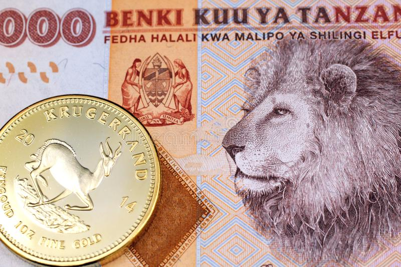 A colorful 2000 Tanzanian shilling bank note wih a gold South African krugerrand in macro. A close up image of an orange, Tanzanian two thousand shilling note stock images