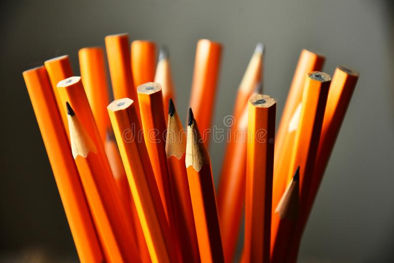 Sharpened Yellow Pencils Close Up stock photos