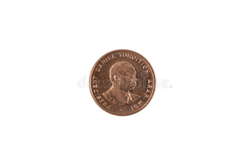 Kenyan Ten Cent Coin Isolated On White. A close up image of a ten Kenyan cent coin isolated on a white background royalty free stock photos