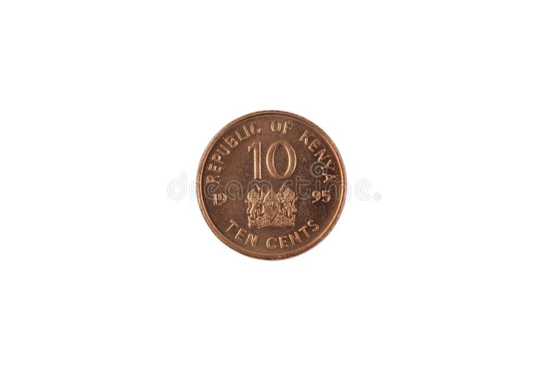 Kenyan Ten Cent Coin Isolated On White. A close up image of a ten Kenyan cent coin isolated on a white background royalty free stock photography