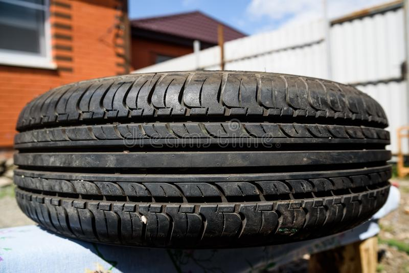 Close up used car tire texture stock photography