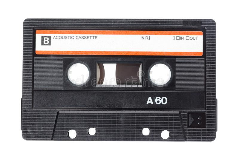 Close up image of a vintage audio cassette tape isolated on white background. Top view. stock image