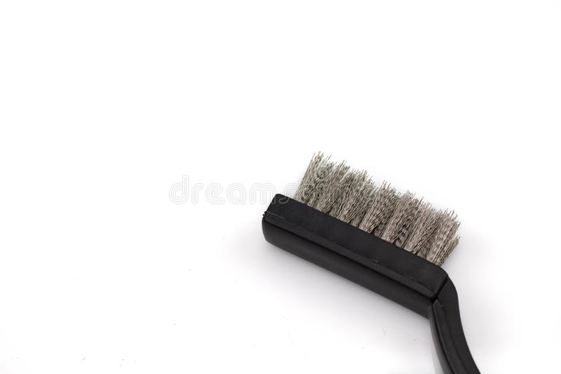 Wire brush isolated on a white background stock photos