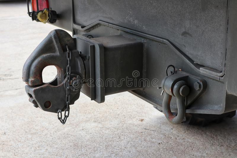Close-up images of large steel hooks for towing the car& x27;s tail. Cars, army stock images