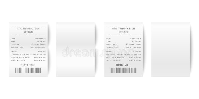 Close up impresso de papel realístico do grupo do recibo do registro da transação do vetor 3d ATM isolado no fundo branco Projeto ilustração stock