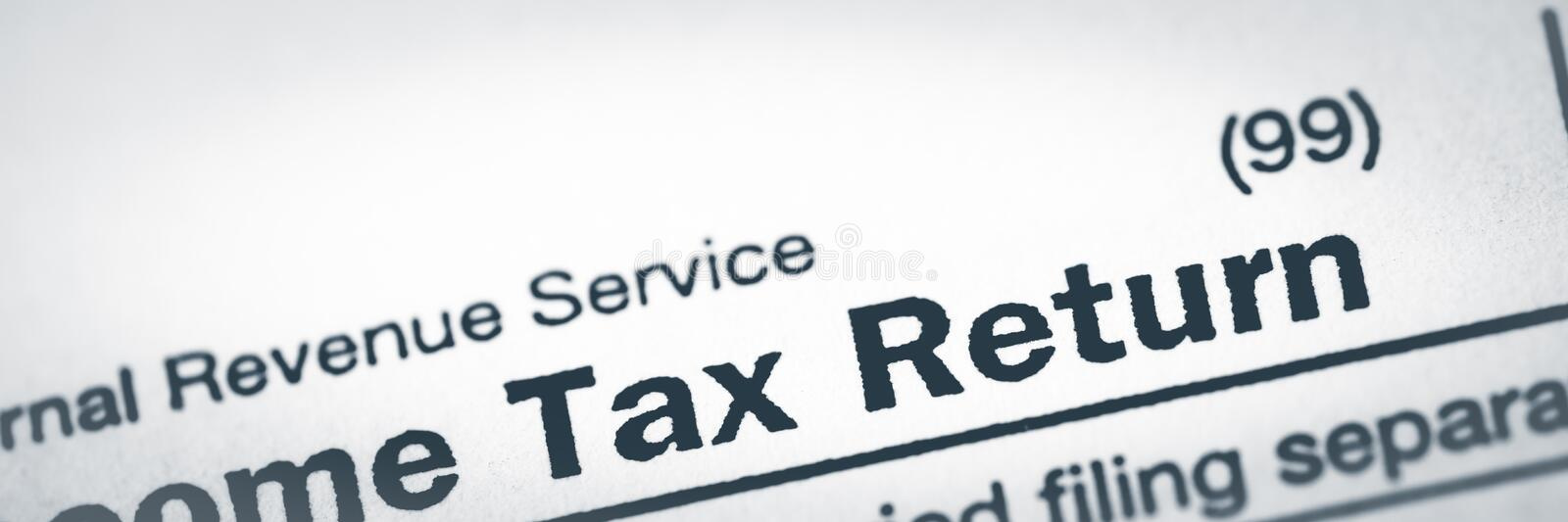 Close-Up Of Income Tax Return Form. Internal Revenue Service Tax Return royalty free stock photography