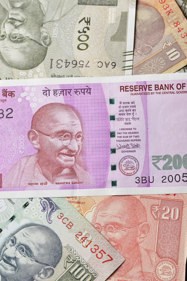 Close up of Indian Currencies Shot in Studio. High resolution close up of Indian currencies in various denominations royalty free stock photography