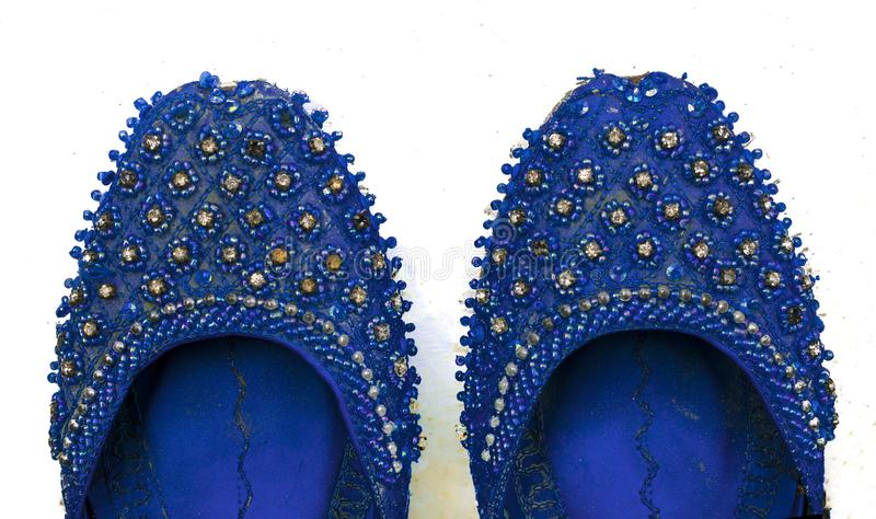 Close up of indian,pakistani khussa,wedding shoes royalty free stock photography