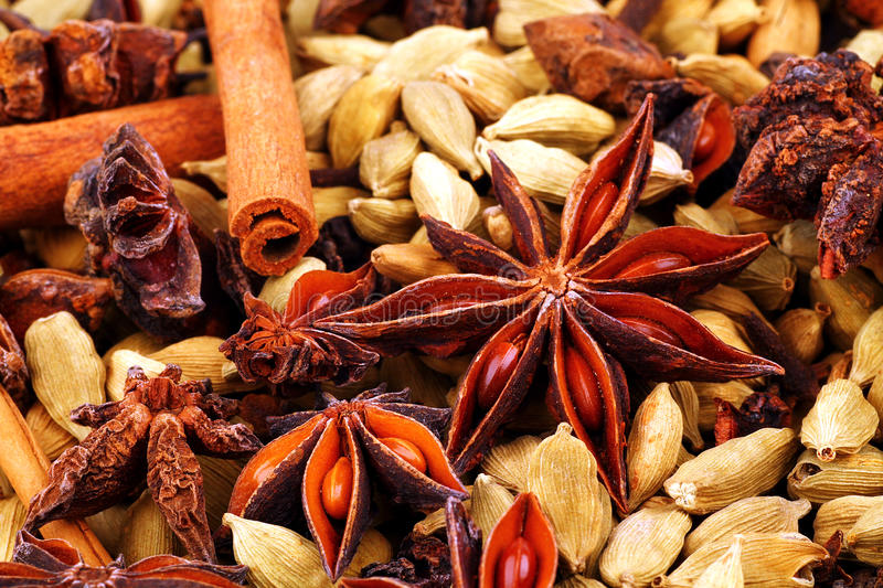 Close up of Indian spices stock photos