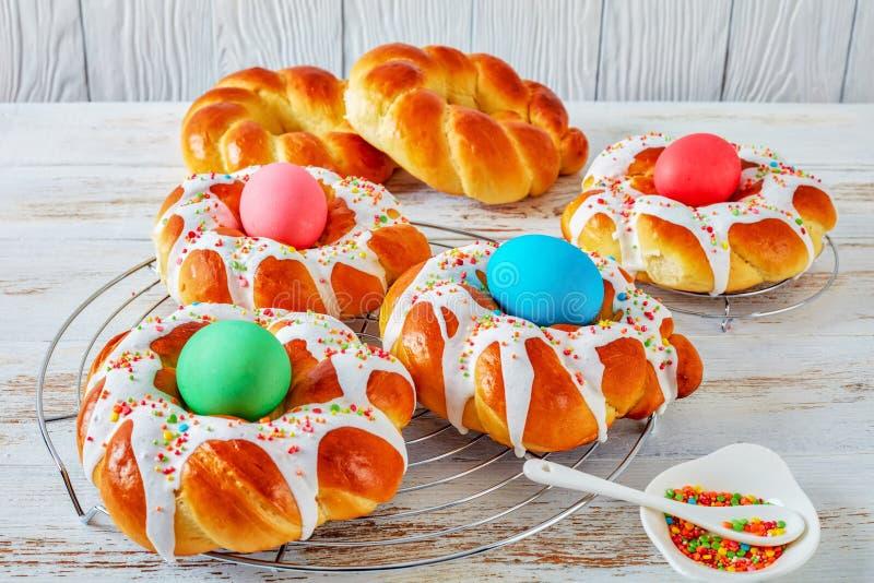 Tasty sweet Italian braided Easter Bread Rings stock photography